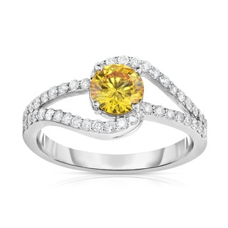 Solaura Collection 14k White Gold 1 1/10ct TDW Brilliant Lab-Grown Diamond Swirl-Inspired Ring (Fancy Yellow, SI)