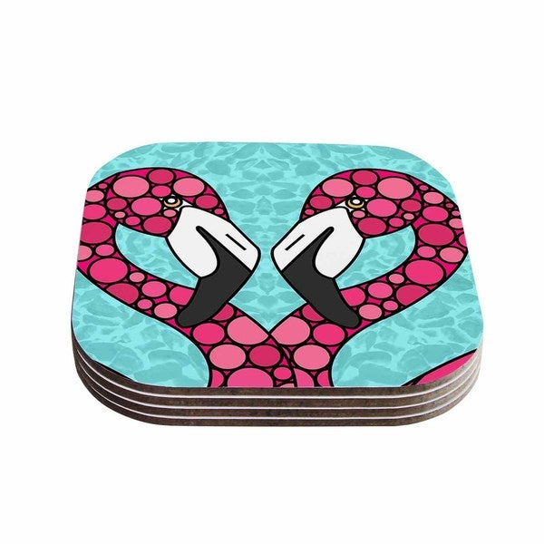 Kess InHouse Art Love Passion 'Pink Flamingos' Blue Magenta Coasters (Set of 4)