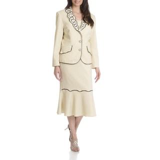 Ella Belle New York Women's Soutache Rhinestone Detail Two-piece Skirt Suit