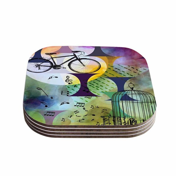 Kess InHouse AlyZen Moonshadow 'BIKE TO THE MOON' Pink Green Coasters (Set of 4)