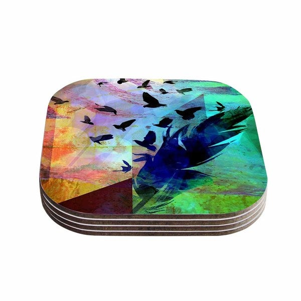 Kess InHouse AlyZen Moonshadow 'NOT QUITE BIRDS OF A FEATHER' Green Multicolor Coasters (Set of 4)