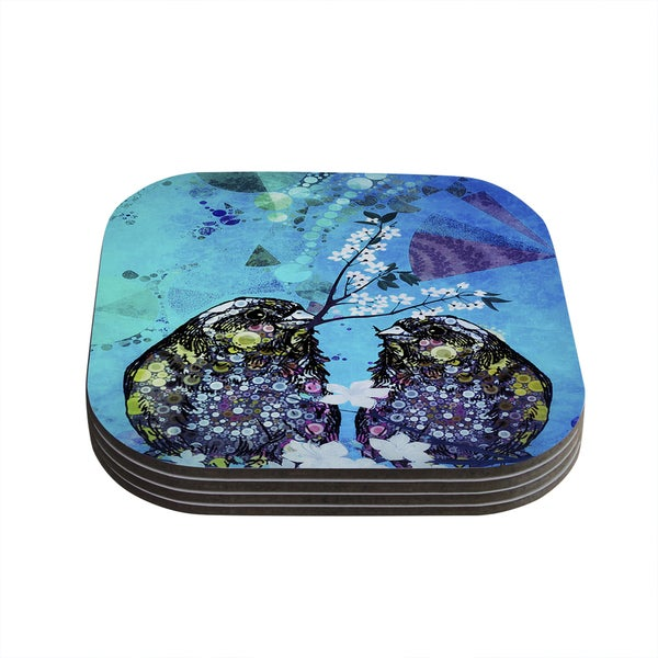Kess InHouse alyZen Moonshadow 'Birds In Love Blue' Navy Purple Coasters (Set of 4)