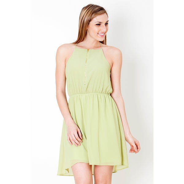 Tea n Rose Women's Racerback Zipper Bodice Hi/Lo Hem Green/White Polyester Dress