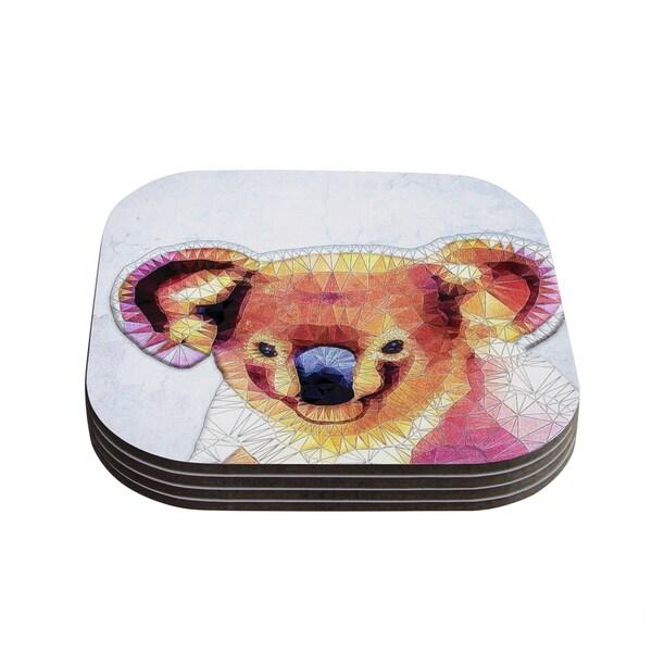 Kess InHouse Ancello 'Cute Koala' Orange Pink Coasters (Set of 4)