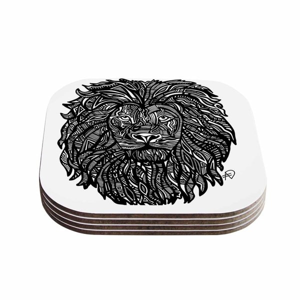 Kess InHouse Adriana De Leon 'The Leon' Lion Illustration Coasters (Set of 4)