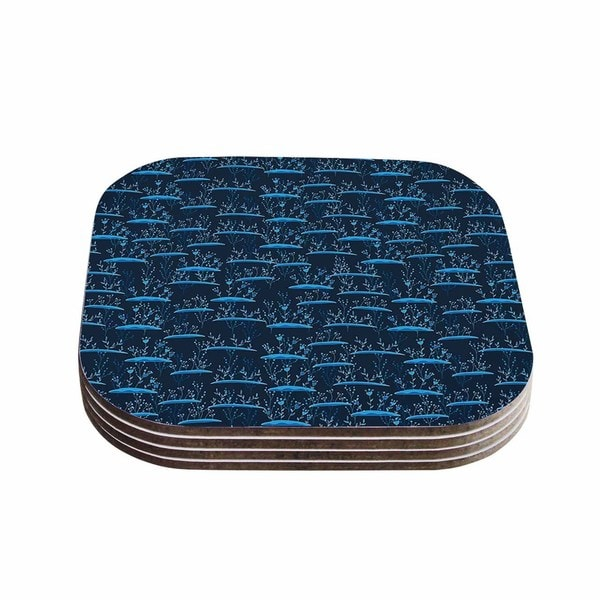 Kess InHouse Alisa Drukman 'The Blades Of Grass' Blue Abstract Coasters (Set of 4)