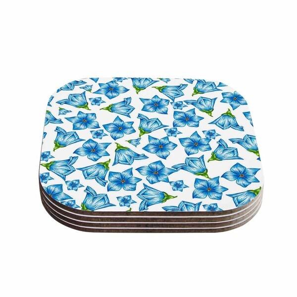 Kess InHouse Alisa Drukman 'Blue Flowers' Floral Pattern Coasters (Set of 4)