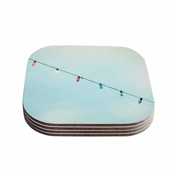 Kess InHouse Ann Barnes 'Dream A Little Dream' Blue Vintage Coasters (Set of 4)