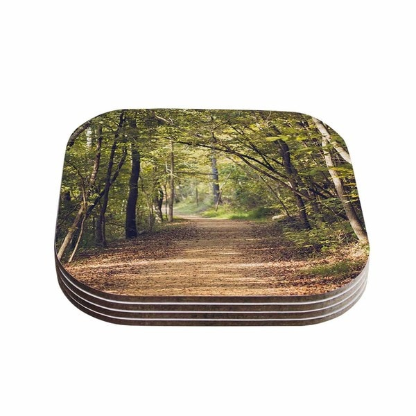 Kess InHouse Ann Barnes 'Forest Light' Nature Photography Trees Green Coasters (Set of 4)
