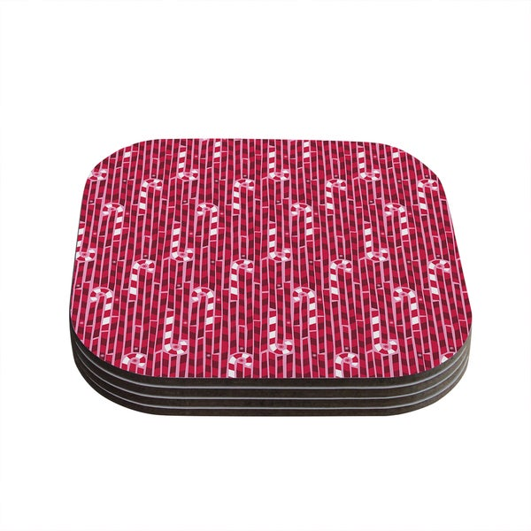 "Kess InHouse Allison Beilke ""Candy Cane Lane"" Pink Red Coasters (Set of 4) 4""x 4"" 18577105"