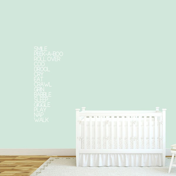Baby Words Nursery Wall Decal 16-inch wide x 42-inch tall