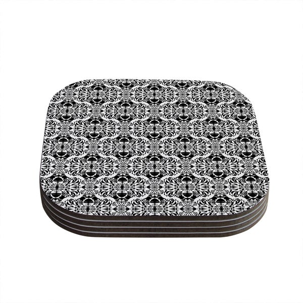Kess InHouse Mydeas 'Illusion Damask Black & White' Monochrome Coasters (Set of 4)