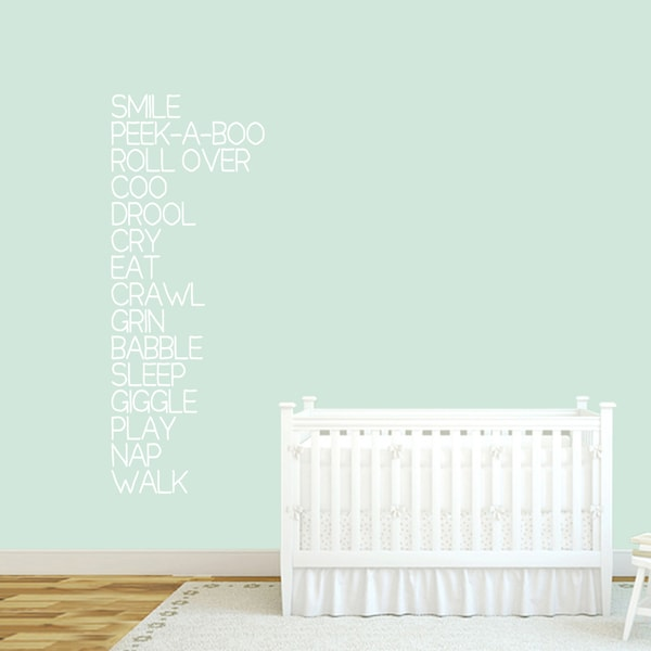 Baby Words Nursery Wall Decal 22-inch wide x 60-inch tall