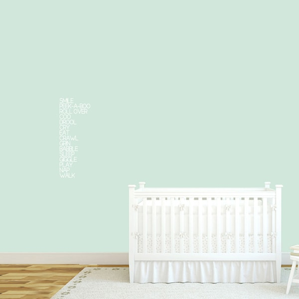 Baby Words Nursery Wall Decal 10-inch wide x 26-inch tall