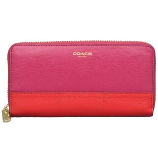 Coach Saffiano Colorblock Cranberry/ Vermillion Zip Wallet
