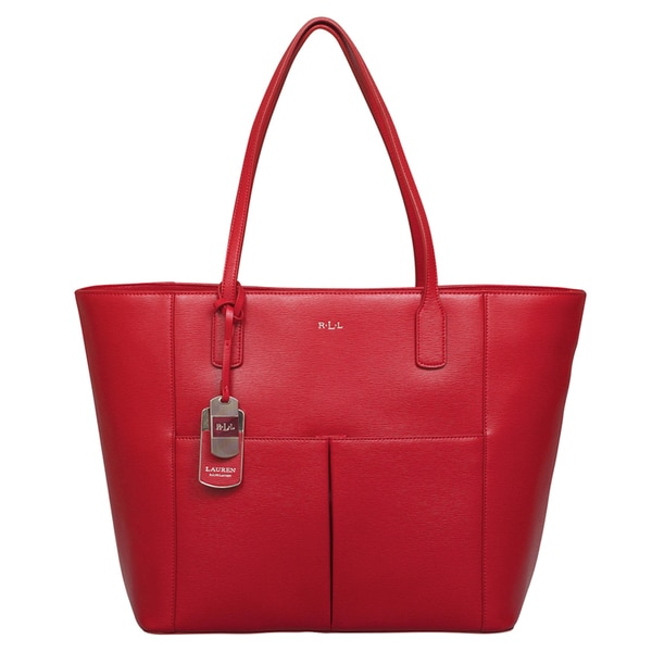 Ralph Lauren Newbury Red Pocket Tote Bag