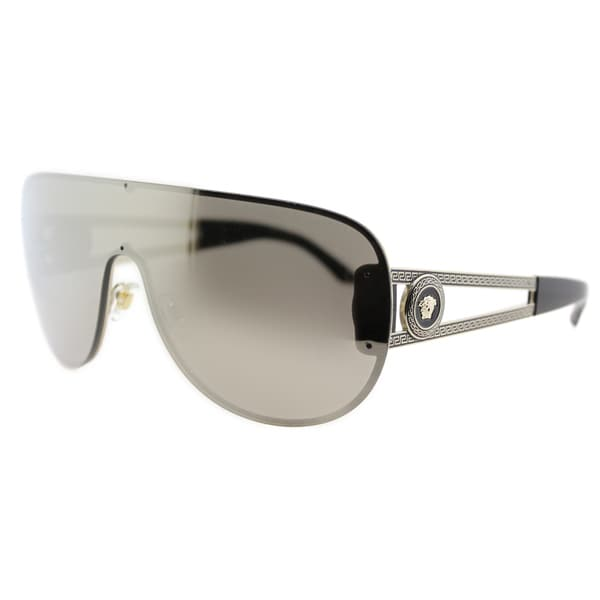 Versace VE 2166 12525A Pale Gold Metal Shield Dark Gold Mirror Lens Sunglasses