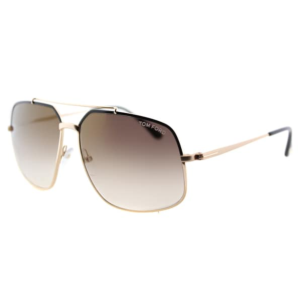 Tom Ford TF 439 01G Ronnie Shiny Black Light Gold Metal Aviator Gold Mirror Lens Sunglasses