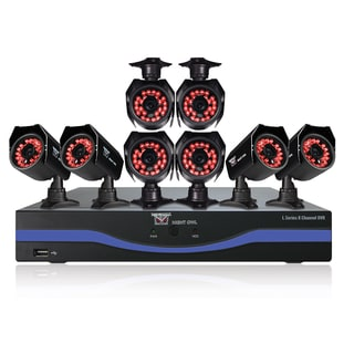 Refurbished B-L85-8624-R 8-channel DVR With 500GB HDD, HDMI Output, 8 Night Vision Cameras and Free Night Owl Lite App