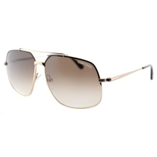 Tom Ford TF 439 48F Ronnie Shiny Brown Gold Metal Aviator Brown Gradient Lens Sunglasses