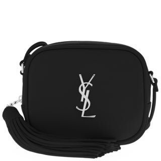 Saint Laurent Monogram Smooth Black Leather Rounded Square Blogger Bag with Tassle