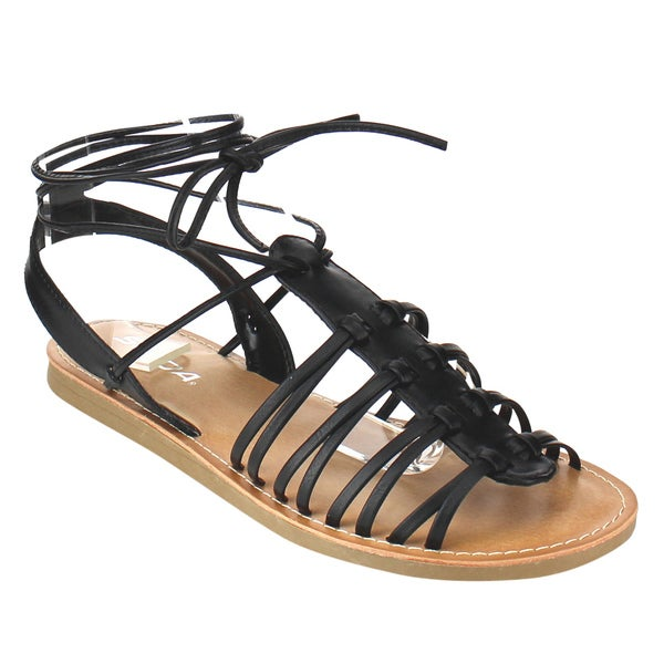 Beston Caged Lace Up Sandals