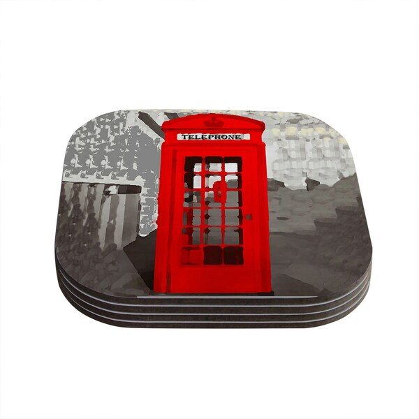 Kess InHouse Oriana Cordero 'London' Red Gray Coasters (Set of 4)