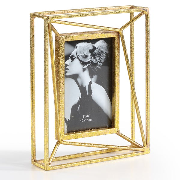 Danya B. Sparkling Gold Geometric 4 x 6 Photo Frame