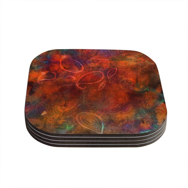 Kess InHouse Nikki Strange 'Tie Dye Paisley' Orange Red Coasters (Set of 4)