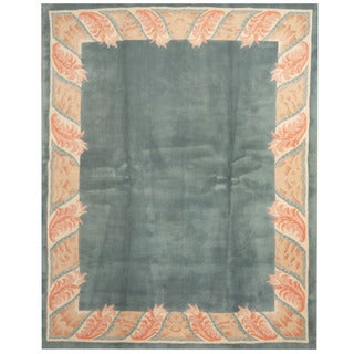 Herat Oriental Indo Hand-tufted Aubusson Blue/ Ivory Wool Rug (7'6 x 9'6)