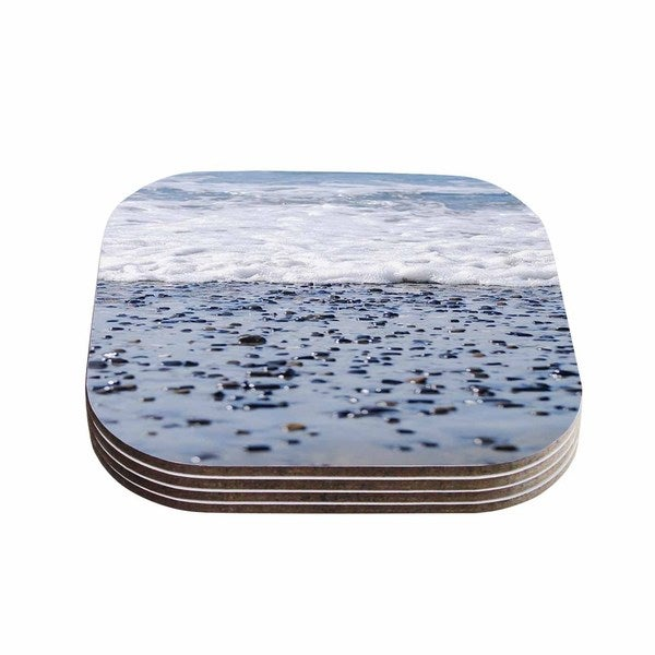 Kess InHouse Nick Nareshni 'Solana Beach Sand Stones' White Gray Coasters (Set of 4)