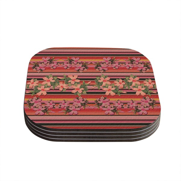 Kess InHouse Nina May 'Peach Hibiscus Stripe' Pink Orange Coasters (Set of 4)