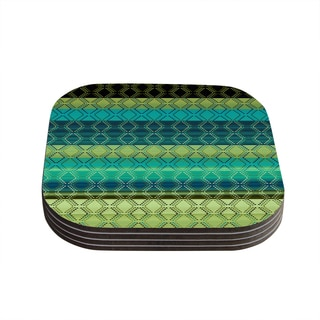 Nina May 'Denin Diamond Gradient Green' Turquoise Emerald Coasters (Set of 4)