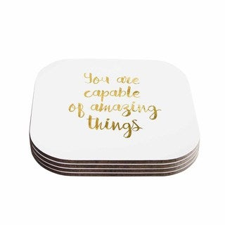 NL Designs 'Amazing Things' Gold White Coasters (Set of 4)