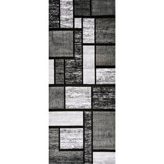 Persian Rugs Modern Trendz Grey Black Runner Rug (2'2 x 7'4)