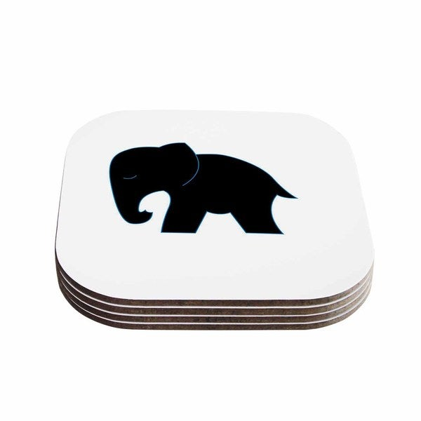 Kess InHouse NL Designs 'Cute Black Elephant' Black Animals Coasters (Set of 4)