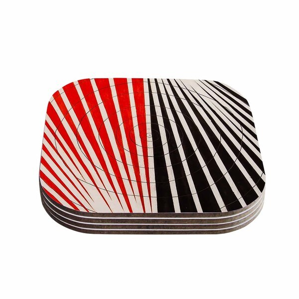 Kess InHouse NL Designs 'Optical Illusions' Red Black Coasters (Set of 4)