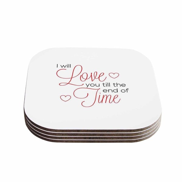 Kess InHouse NL Designs 'I Will Love You' White Red Coasters (Set of 4)