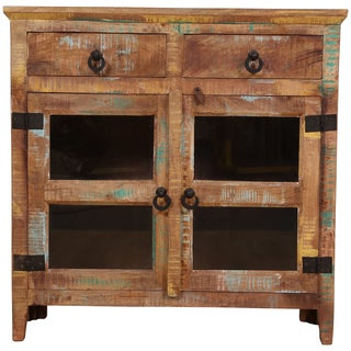 Wanderloot Rustic Distressed Mango Wood 2-door, 2-drawer Glass Cabinet