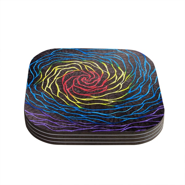 Kess InHouse NL Designs 'Rainbow Vortex' Multicolor Illustration Coasters (Set of 4)