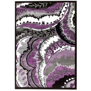 Persian Rugs Purple White Black Area Rug (2' x 3'4)