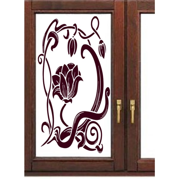 Beautiful flower on the window Wall Art Sticker Decal Red