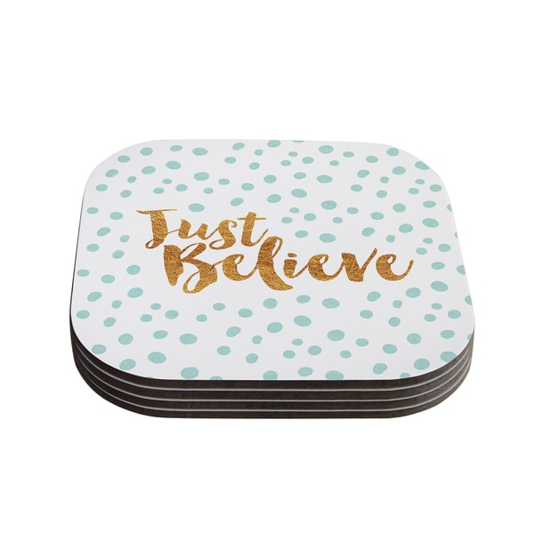 Kess InHouse Nick Atkinson 'Just Believe' White Gold Coasters (Set of 4)