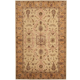 Herat Oriental Indo Hand-tufted Tibetan Ivory/ Gold Wool Area Rug (5'3 x 8')