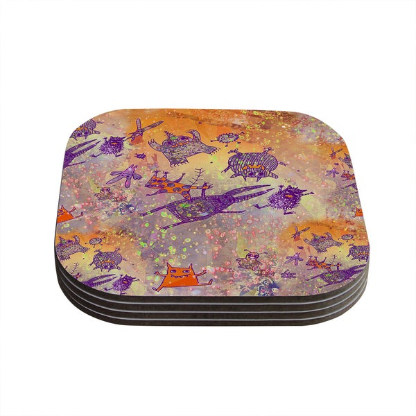 Kess InHouse Marianna Tankelevich 'Levitating Monsters' Orange Purple Coasters (Set of 4)