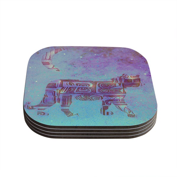 Kess InHouse Marianna Tankelevich 'Panther at Night' Purple Blue Coasters (Set of 4)