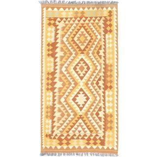 eCarpetGallery Anatolian Yellow Wool Hand-woven Kilim (3'3 x 6'5)