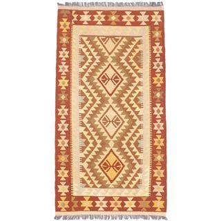 eCarpetGallery Hand-woven Izmir Kilim Yellow Wool Kilim Rug (3'4 x 6'4)