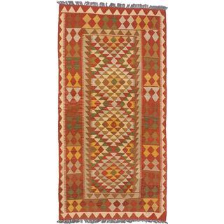 eCarpetGallery Anatolian Brown and Yellow Hand-woven Wool Kilim (3'4 x 6'8)