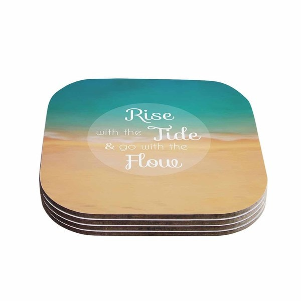 Kess InHouse Alison Coxon 'Rise With The Tide' Teal Brown Coasters (Set of 4)